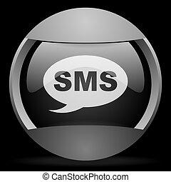 gris, tela, sms, fondo negro, redondo, icono