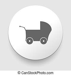 gris, toile, buggy, -, fond, blanc, icône