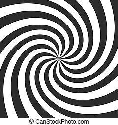 gris, torcido, efecto, ilustración, espiral, fondo., vector, rays., radial, remolino, cómico, psicodélico, retro