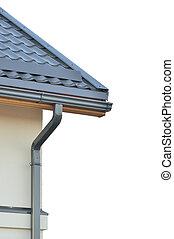 gris, tuiles, marque, gris, toit, isolé, toit, toiture, ...