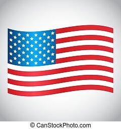 gris, usa, illustration, onduler, arrière-plan., drapeau,...