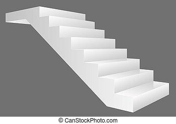 gris, vecteur, escalier, isolé, fond