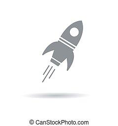 gris, vecteur, illustration, fusée, shadow.