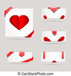 gris, vecteur, résumé, illustration, papier, fond, cartes, rubans
