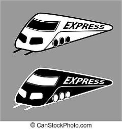 gris, vecteur, silhouette, exprès, moderne, train