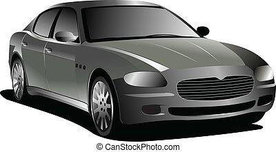 gris, vecteur, voiture., illustration, sedan.