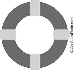 gris, -, vector, lifebuoy, icono