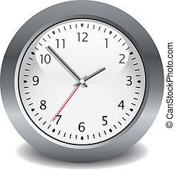 gris, vector, reloj