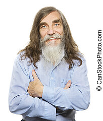 gris, vieux, aîné, longs cheveux, sourire., barbe, homme aîné, heureux