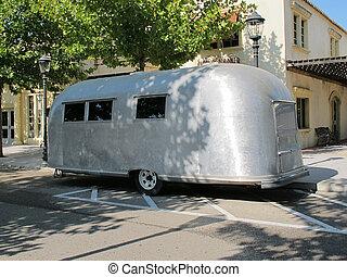 gris, vieux, caravane, métallique,  1950, typique