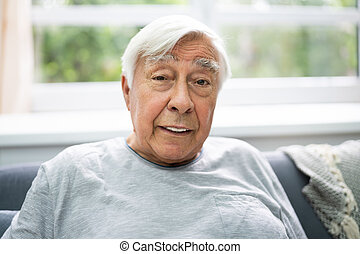 gris, vieux, cheveux, portrait aîné