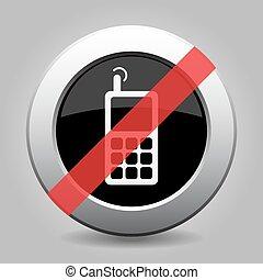 gris, vieux, non, chrome, bouton, -, téléphone, mobile