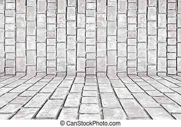 gris, vieux, salle, fond, brique blanche