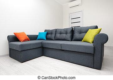 gris, vivant, blanche salle, sofa
