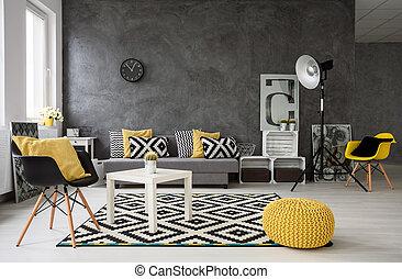 gris, vivant, jaune, salle, détails