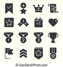 gris, votes, récompenses, ensemble, icônes, vecteur