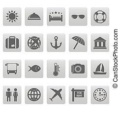gris, voyage, carrés, icônes