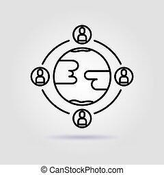 gris, work., ligne, global, icône, fond, engagement, équipe