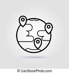 gris, work., ligne, interaction, icône, fond, éloigné, équipe