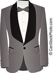 gris, y, juego negro, con, camisa blanca, y, gris, corbata de lazo