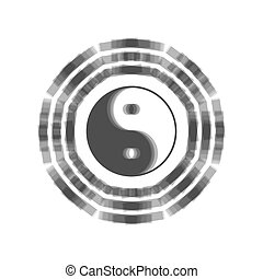 gris, yin, bagua, arrangement., señal, fondo., yang, shaked...