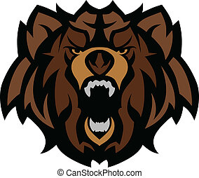 grisonnant, graphique, tête, ours, mascotte