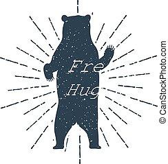"""grisonnant, hugs!"""", illustration, étiquette, vecteur, ours, inspirationnel, dessiné, """"free, main, lettering."""