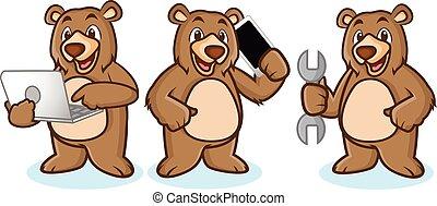 grisonnant, ordinateur portable, ours, mascotte