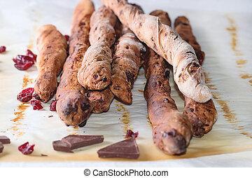 Grissini bread with dark chocolate