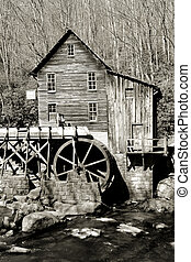 Grist glade creek mill in black and white