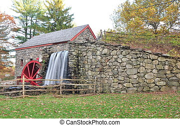 Grist Mill falls - water flowing through a historic grist...