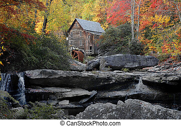 Grist Mill in Autumn - Grist Mill in Beckley, West Virgina...