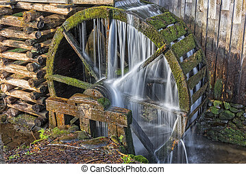 Grist Mill Water Wheel In Cades Cove - The John P. Cable...