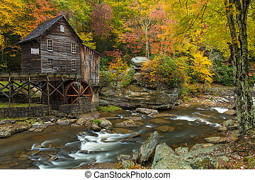 Grist Mill waterfalls - West Virginia Grist mill with water...