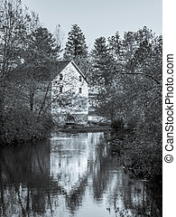 Gristmill Reflection - The old Gristmill of Historic...
