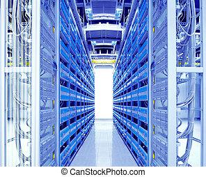 grit, van, netwerk, kabels, en, servers, in, een, technologie, gegevensmidden