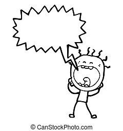 gritando, caricatura, homem