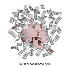 gritando, cranio, em, chuva, de, dólares