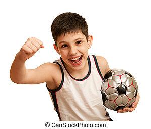 gritando, criança, feliz, de, seu, vitória