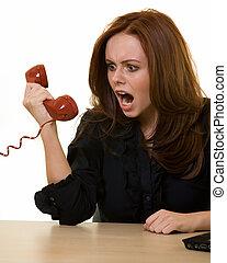 gritando, em, a, telefone