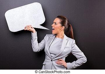gritando, fala, mulher, bolha, em branco