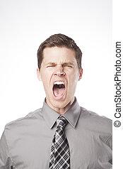 gritando, homem negócio