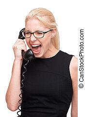 gritando, jovem, mulher negócio, com, telefone