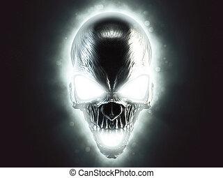 gritando, mal, fantasma, cranio