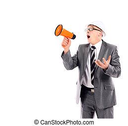 gritando, negócio, através, fundo, branca, megafone, homem