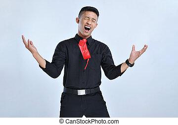 gritando, negócio, sucesso, grande, jovem, celebrando, ganhar, asiático, expressar, feliz, excitado, gesto, homem