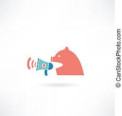 gritando, porca, orador, ícone