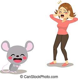 gritando, rato, mulher, assustado