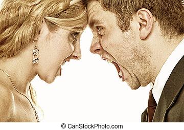 gritando, relacionamento, fúria, par, dificuldades, casório