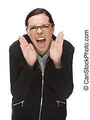 gritar, mujer de negocios, enojado, aislado, fondo., carrera, mezclado, blanco, cámara